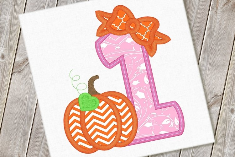 Pumpkin Bow One Applique Embroidery Design 1157