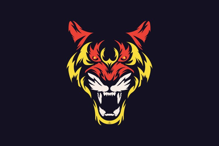 Abstract tiger face logo template vector - Eps 10 example image 1