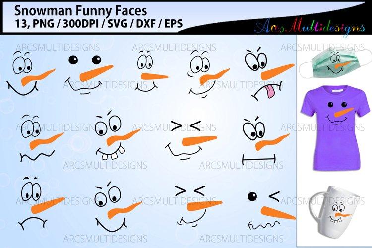Snowman faces svg bundle / funny faces / christmas faces example image 1