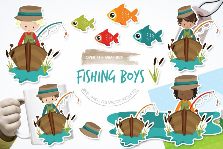 Fishing Boys graphic and illustrations