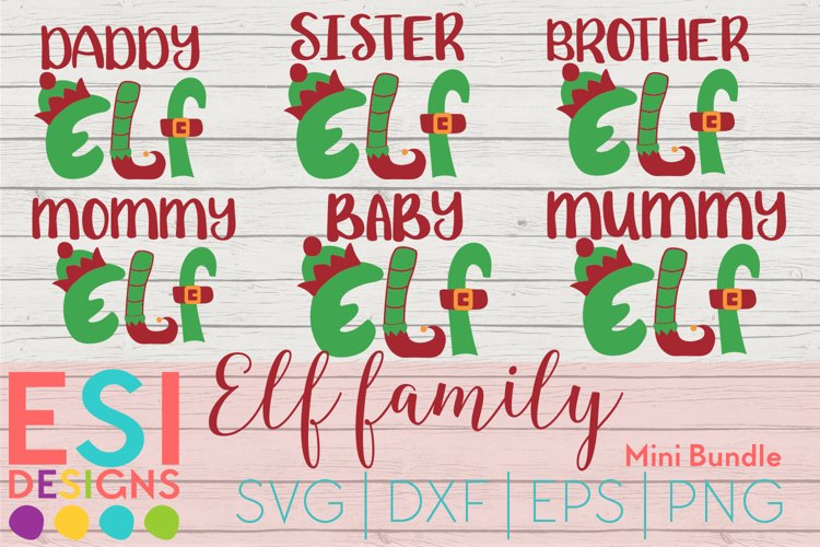 Christmas SVG|Elf Family Mini Bundle| SVG, DXF, EPS, PNG example image 1