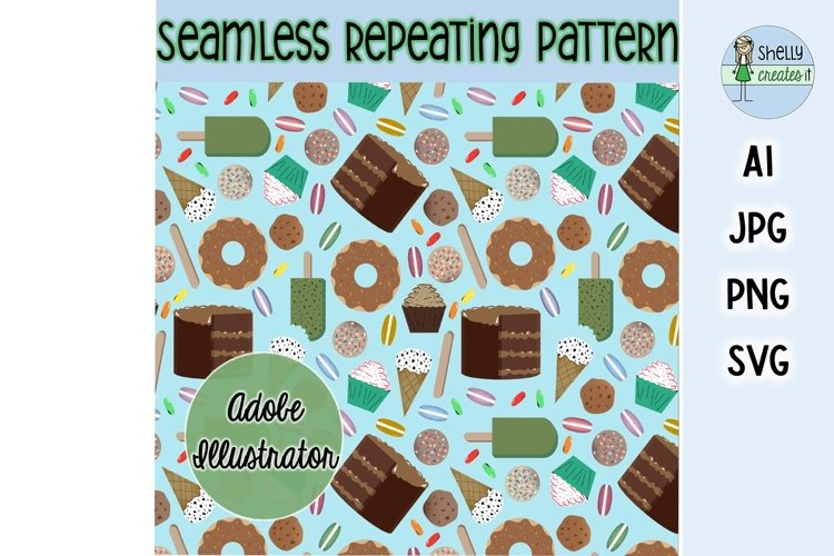 Sweet Treats digital elements and repeating pattern