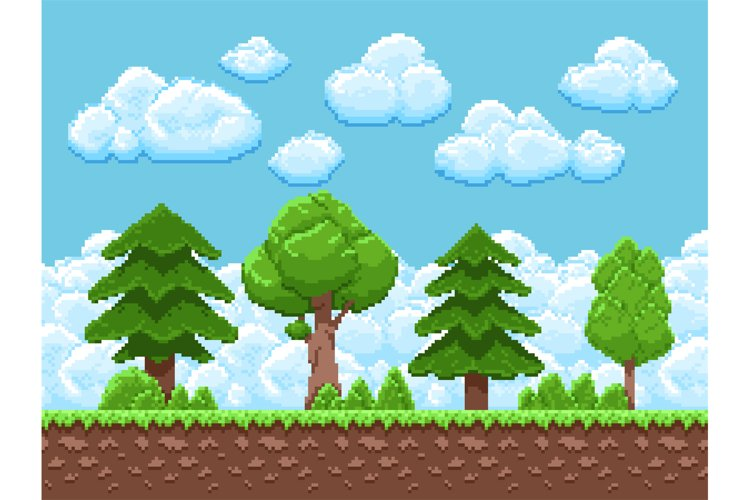 Pixel game vector landscape with trees, sky and clouds for 8 example image 1
