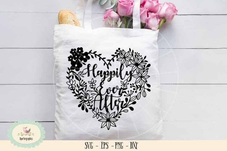 happily ever after heart wedding paper cut SVG PNG example image 1