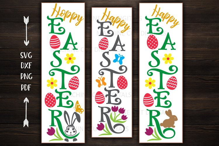 Happy Easter bundle Vertical porch signs Cricut cutting svg example image 1