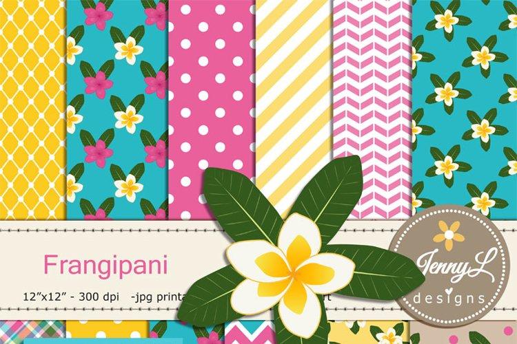Frangipani Digital Papers & clipart SET, Plumeria Flower, Kalachuchi Floral example image 1