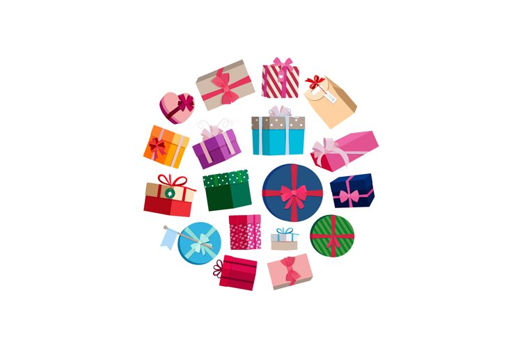 Vector gift packages and boxes with colorful wrapping round example image 1