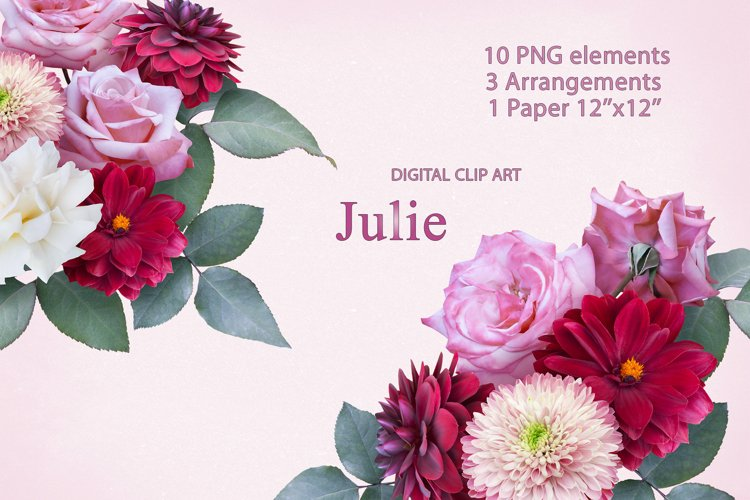 Red dahlia and pink roses clipart. Floral arrangements.