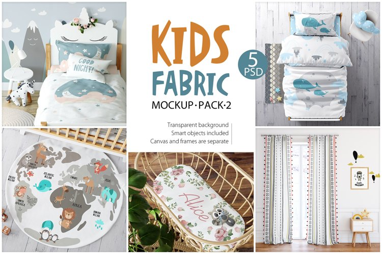 KIDS Fabric Mockup Pack 2 example image 1