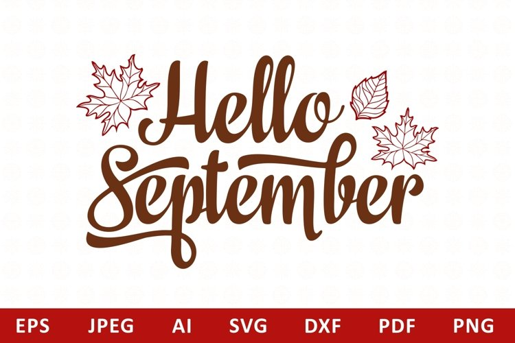 Hello September Lettering Phrase Text Graphic example image 1