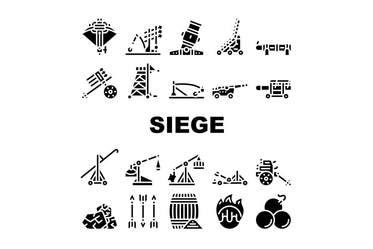 Siege Engine Catapult Collection Icons Set Vector example image 1