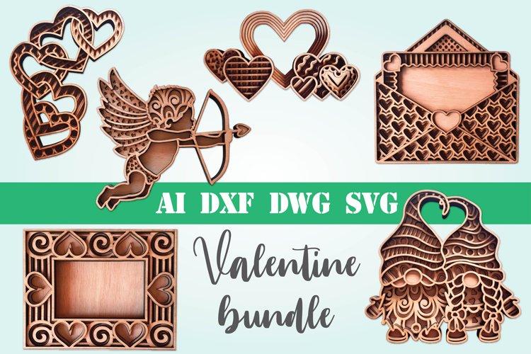 Valentine bundle 3d svg dxf layered Multi layer mandala love example image 1