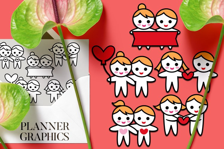 Happy couple in love graphics, Valentines day illustrations