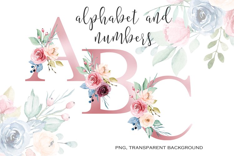 Alphabet with watercolor flowers, letters, monogram, numbers