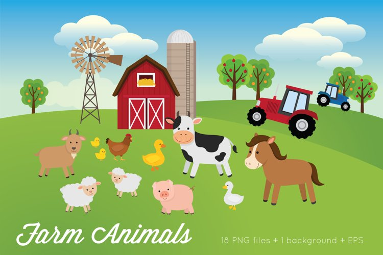 Farm Animals Clipart Vector PNG example image 1
