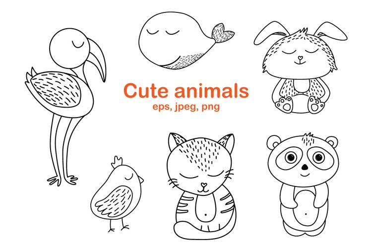 Worksheet animals and coloring book example image 1
