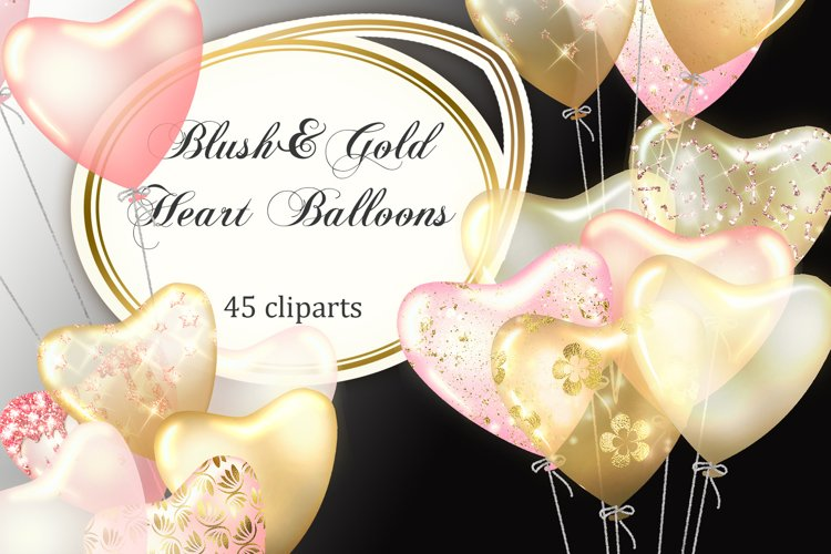 Blush&Gold Heart Balloons example image 1