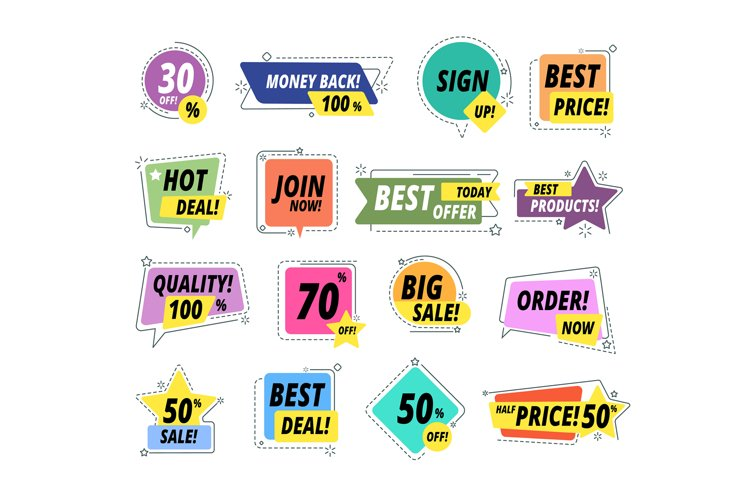 Sale promo badges. Guarantee labels. Promo sticker exclusive example image 1
