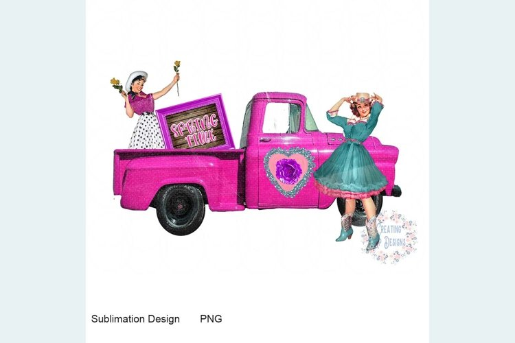 Junky Spring Time Truck with 50's Ladies PNG example image 1