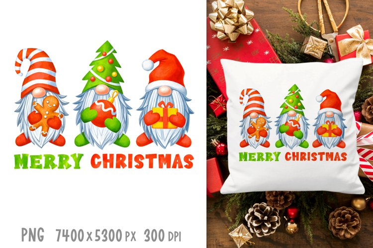 Gnomes Christmas sublimation designs Watercolor christmas example image 1