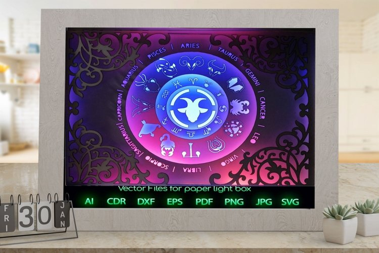 Zodiac sign capricorn Light box template , Paper or cardbo example image 1