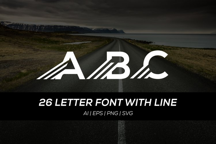 26 letter font with fast line example image 1