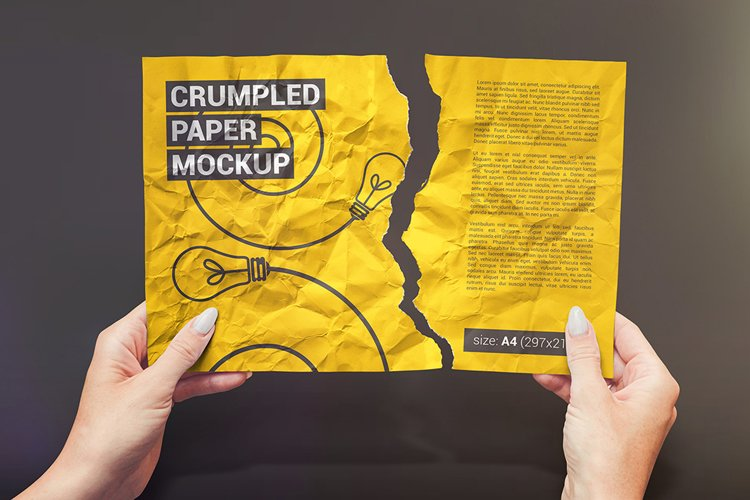 Crumpled A4 Paper / Poster / Flyer Mockup example image 1