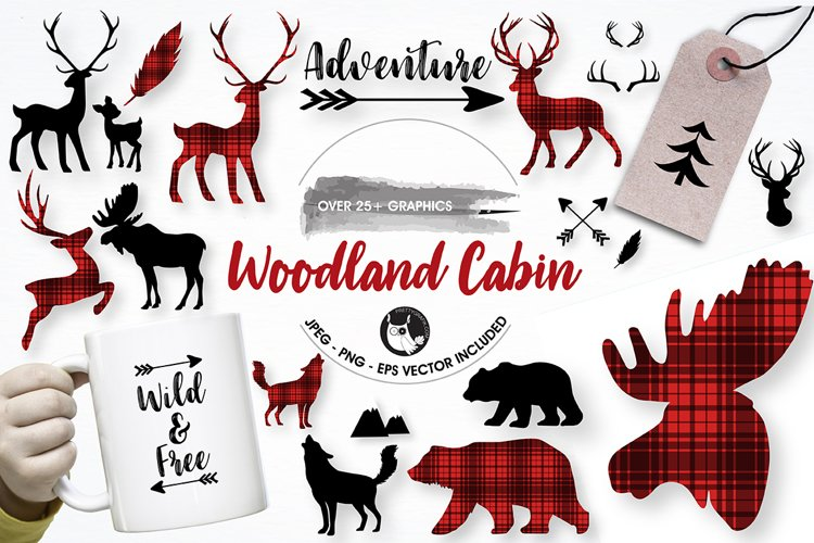Woodland cabin graphics and illustrations
