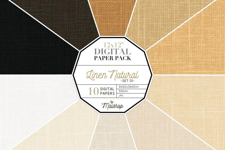 Digital Paper Pack - Linen Natural Set 01 example image 1