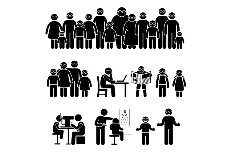 People Children Family Wearing Glasses Stick Figure Icons example image 1