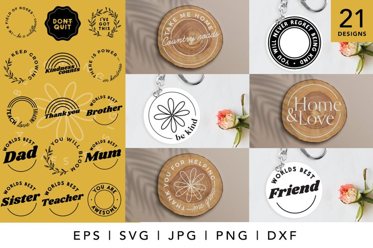 Circle Keychain SVG, coaster SVG And Round Home sign