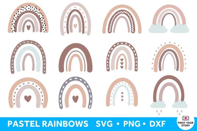 Boho Rainbow SVG Bundle, Pastel Boho Rainbow Clipart