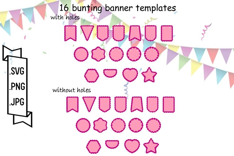 Bunting Banner SVG Templates - Pennant Banner Cut Files example image 1