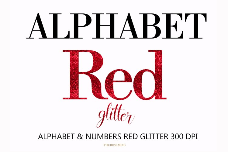 Alphabet Red, valentine, letters red, sublimation example image 1