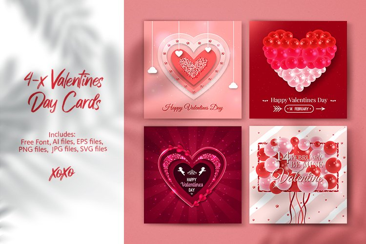 4 Valentines Day Cards