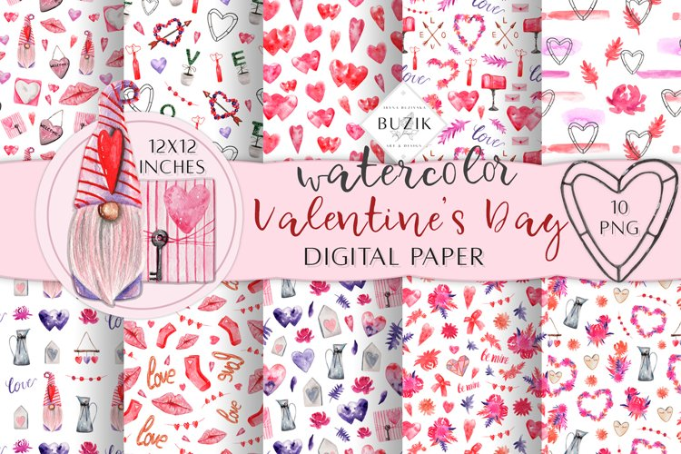 Watercolor Valentines Day Seamless Patterns. Scrapbook PNG