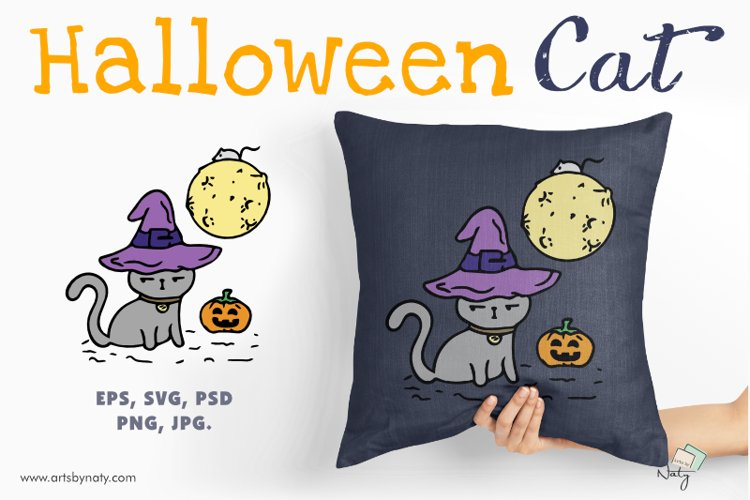 Funny cute Halloween cat in a hat with the moon and pumpkin. example image 1