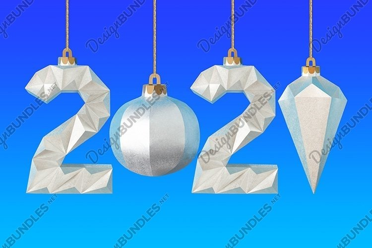 Paper numbers and Christmas tree toys form number 2021 example image 1