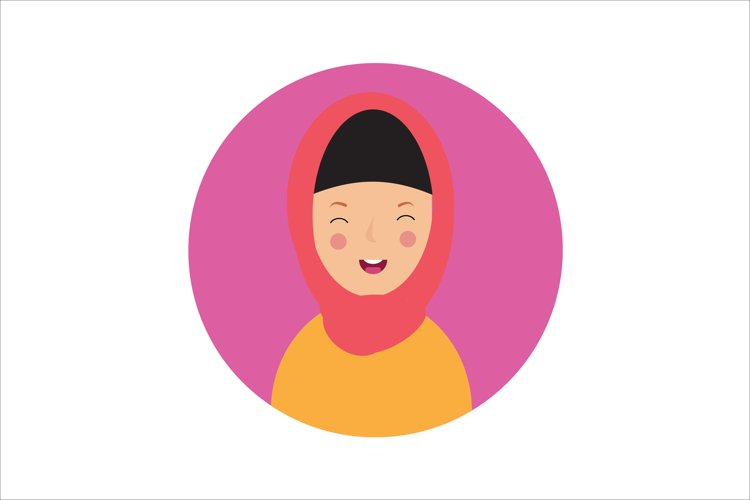 Icon Character Female with Pink Hijab example image 1