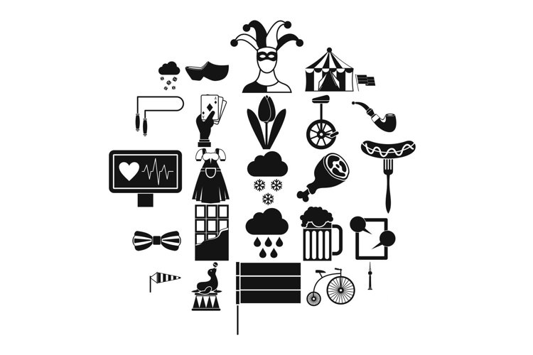 Circus training icons set, simple style example image 1