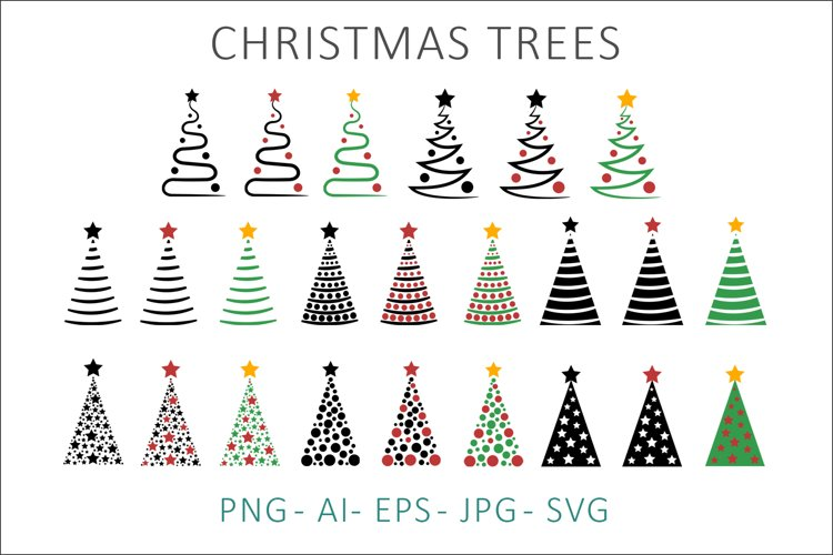 Christmas Trees SVG Clipart example image 1