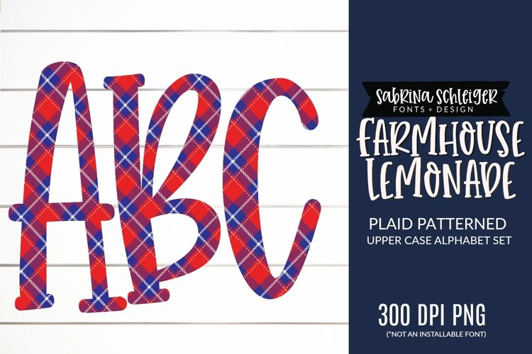 Farmhouse Lemonade PNG Plaid Alphabet Clipart
