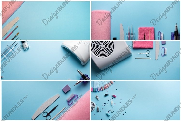 Top view of manicure equipment on blue background example image 1
