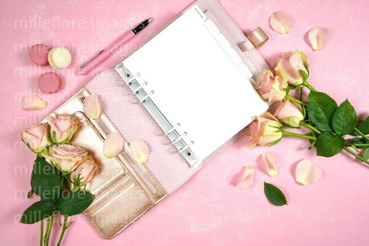 Mothers Day Blush Pink Desktop Planner Mockup Styled Photo