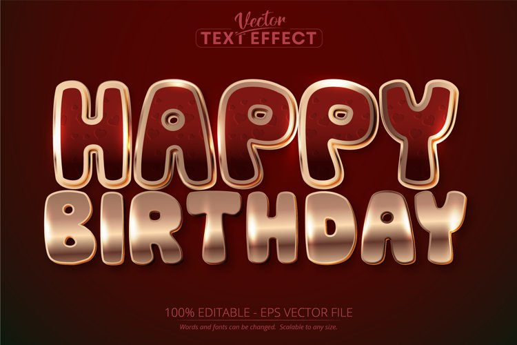 Happy birthday text, shiny rose gold color text effect