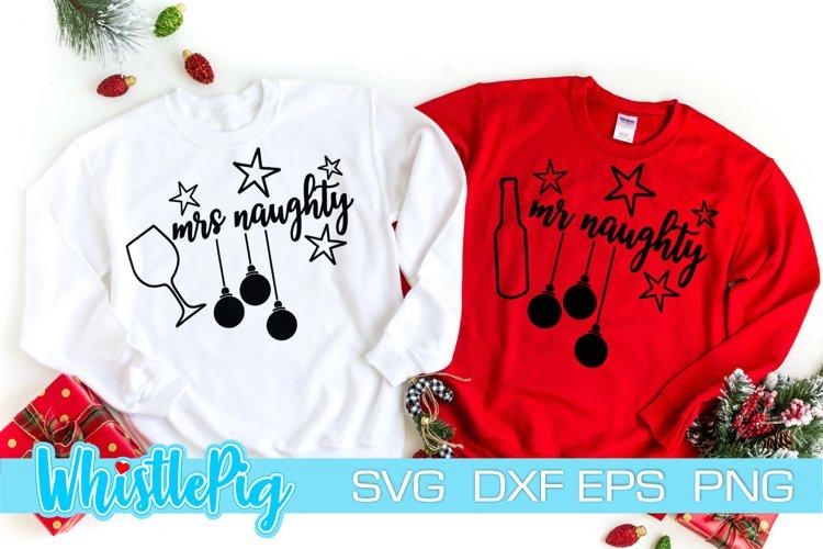 Mr Mrs Naughty Svg Ugly Christmas Sweater SVG Naughty List example image 1