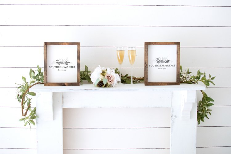 Real Wood Sign Mock Up | 8x10 side by side Wedding Mock Up example image 1