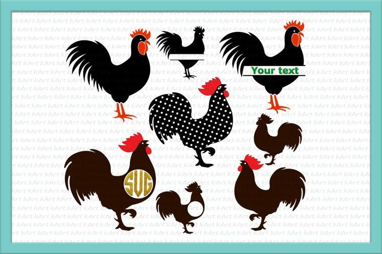 Rooster svg, Chicken SVG, Rooster monogram svg, SVG file example image 1