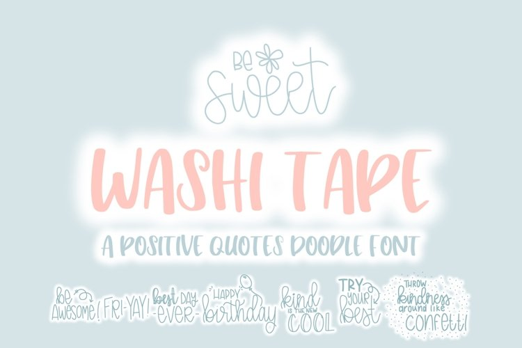 Washi Tape Doodle Font | Doodle Font example image 1