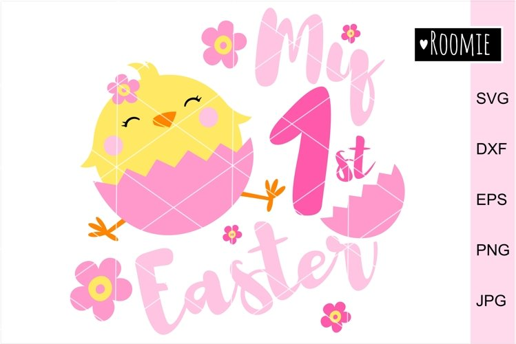 My First Easter GIRL Svg, 1st Easter Chicken, Happy Easter example image 1